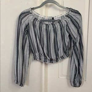 Blank and white cropped off-the-shoulder top